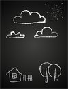 Childrens drawing of clouds in chalk vector illustration childish a house fence trees and sun on board concept image property sale Royalty Free Stock Photos
