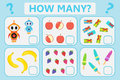 Childrens educational logic game. Mathematical task. How many. Vector illustration. Royalty Free Stock Photo