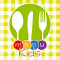 Childrens menu colorful card cookware inside a circle Royalty Free Stock Image