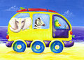 Childrens painting of surf van with exotic animals Stock Images