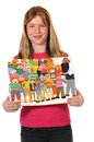 Childrens paintings girl with in front of white Royalty Free Stock Photos