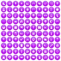 100 childrens parties icons set purple