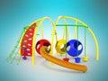 Childrens playground mesh slide balls red blue green 3d render o Royalty Free Stock Photo