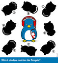 Childrens puzzle - match the shadow to the penguin Royalty Free Stock Photo