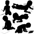 Childrens Silhouettes 03 Royalty Free Stock Photo