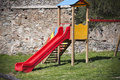 Childrens slide in public park Stock Image
