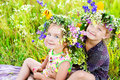 Childrens On Summer Nature