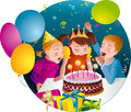 Childs birthday party kids blowing candles on ca having fun cake balloons whistles presents vector illustration Stock Images