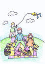 Childs crayon drawing of their family
