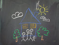 A childs drawing of happy family at home Royalty Free Stock Image