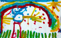 Childs drawing man rainbow sun Stock Photography