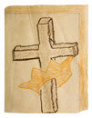 Childs easter celebration booklet isolated the young religious holiday colored crayon drawing of the cross and christs crown Stock Image