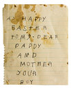 Childs easter note parents isolated this filthy retro writing paper from an old spiral notebook displays a crude printed message Stock Photos