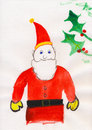 Childs Painting - Father Christmas - Santa Claus Royalty Free Stock Photo