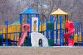 Childs playground sits empty in the park Royalty Free Stock Photography