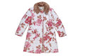 Childs rosy overcoat has rose colored pattern Stock Photos