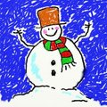 Childs snowman Royalty Free Stock Photo