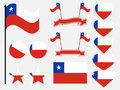 Chile flag set symbols, flag in heart. Vector