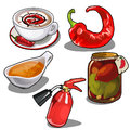 stock image of  Chile pepper in different forms, fire extinguisher