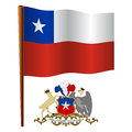 Chile wavy flag and coat of arms against white background vector art illustration image contains transparency Royalty Free Stock Images