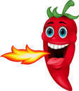 Chili cartoon character breathing fire Fotografie Stock Libere da Diritti