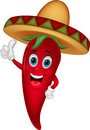 Chili cartoon with sombrero hat illustration of Stock Photo