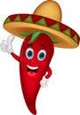 Chili cartoon with sombrero hat Royalty Free Stock Photo