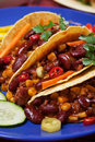 Chili con carne burrito in taco shell Stock Photography