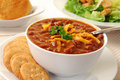 Chili con carne with crackers Stock Images