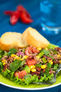Chili con carne salad made of mincemeat kidney beans watercress green bell pepper tomato sweet corn and red onions served on Royalty Free Stock Image