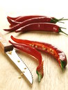Chili cut in half Stock Photography