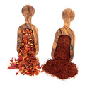 Chili Flakes and Powder Stock Images