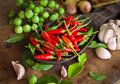 Chili and many spices red on wood table Stock Photo