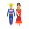 Chili national dress illustration of costume on white background Stock Image
