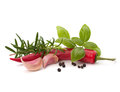 Chili pepper and flavoring herbs Royalty Free Stock Photo
