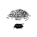 Chili Pepper hand drawn vector illustration of crushed pile. Vegetable engraved style object