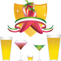 Chili Peppers with Gold Shield and Drinks Stock Photo