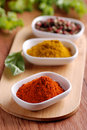 Chili powder and other spices Royalty Free Stock Photo