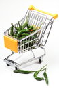 Chili in shopping cart Royalty Free Stock Images