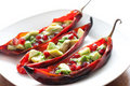 Chili stuffed with avocado salad Royalty Free Stock Photo