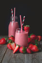 Chill and relax time with strawberry smoothie with wood backgrou Royalty Free Stock Photo
