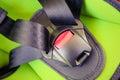 Chilld closeup automobile safety belt seat Stock Image