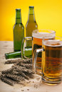 Chilled beer on wooden table Stock Photography