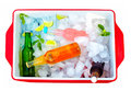 Chilled colorful beverages in ice box summer party with mint Stock Images