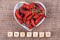 Chilli on sack cloth Stock Photography