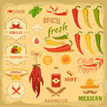 Chilli spice chili pepper vegetables mexican food label design Stock Image