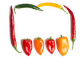Chillies chili peppers frames on white background Stock Photos