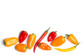 Chillies chili peppers on white background Stock Images