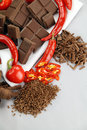 Chillies And Chocolate Royalty Free Stock Photo