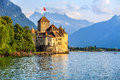 Chillon castle at geneva lake switzerland beautiful view of famous chateau de one of s major tourist attractions and most visited Stock Photo